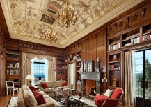 Stunning ceiling and classic European flavor set the mood in the home office