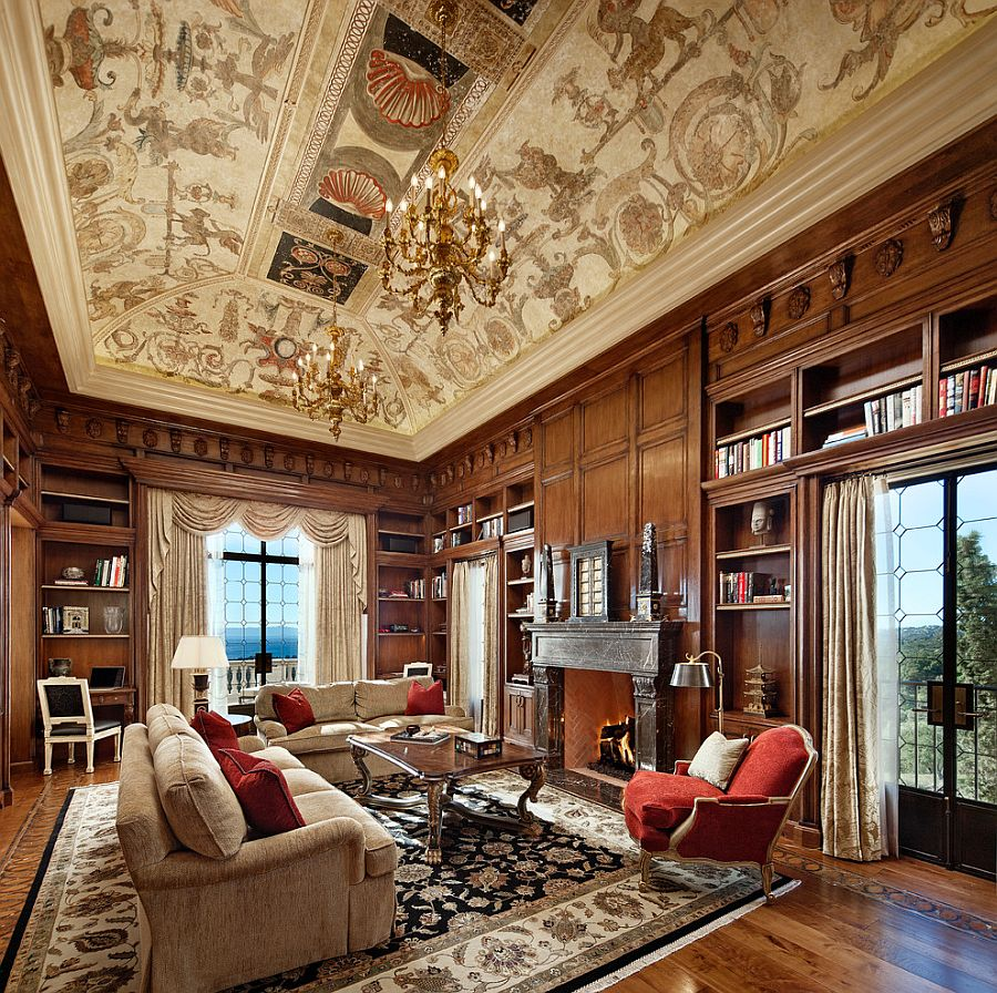 Stunning ceiling and classic European flavor set the mood in the home office [From: Giffin & Crane General Contractors / Design: Peter Becker]