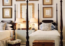 Stunning four post twin beds complimented by wall art 217x155 22 Guest Bedrooms with Captivating Twin Bed Designs