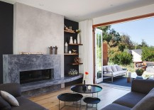 Stylish living area of the California home connected with the central courtyard outside