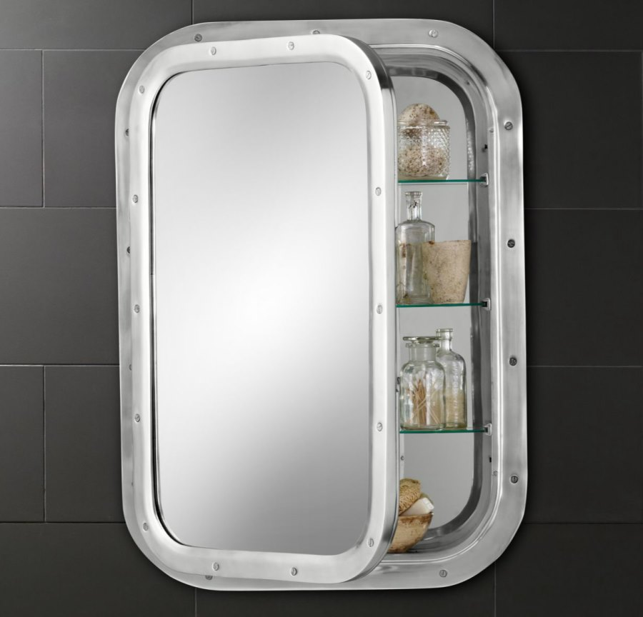 submarine style medicine cabinet from restoration hardware