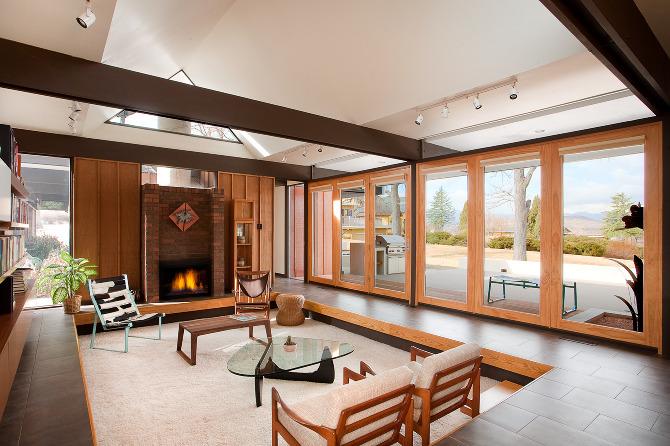Sunken Living Room in Warm Wood Tones