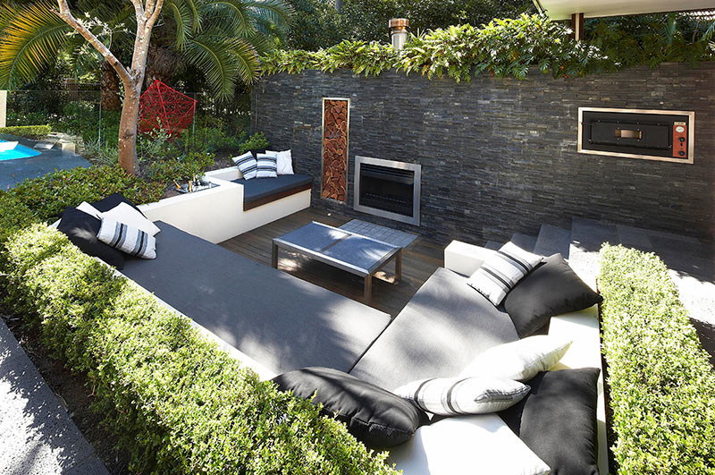 Sunken Stone-Lined Recessed Patio