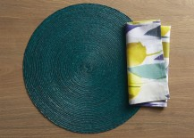 Teal placemat and linen napkin from Crate & Barrel