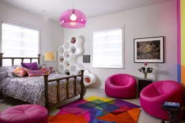 Teen girls' bedroom filled with purple brilliance