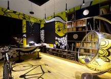 Teen-tastic contemporary home office in black and yellow