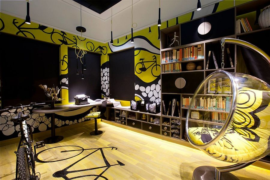 Teen-tastic contemporary home office in black and yellow [Design: Makom Design]