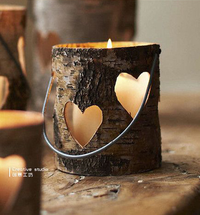 The light can shine through the cutout hearts in the wood