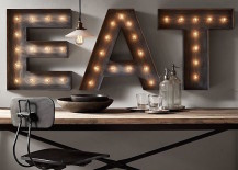 Three marquee letters to spell the word eat