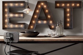 Three marquee letters to spell the word eat  22 Illuminating Vintage Marquee Lighting Ideas Three marquee letters to spell the word eat 270x180