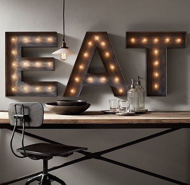 View In Gallery Three Marquee Letters To Spell The Word Eat