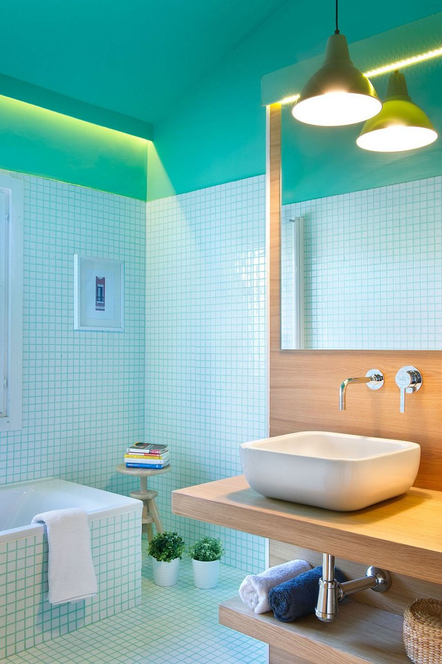 Tiles create a unique visual in the relaxing bathroom