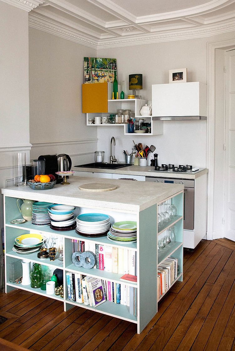 Tiny contemporary kitchen with island that features open shelving for smart storage [Design: Thibaut and Thewood]