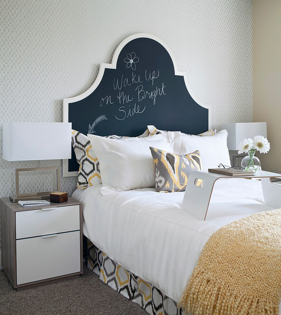 Transitional bedroom with a chalkboard paint headboard
