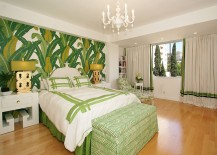 Tropical style bedroom with palm leaf wall motif