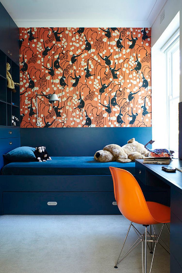 Trundle bed in navy blue and Deco Monkeys in biscuit by De Gournay wallpaper for the vivacious kids' room [Design: Scott Weston Architecture Design]