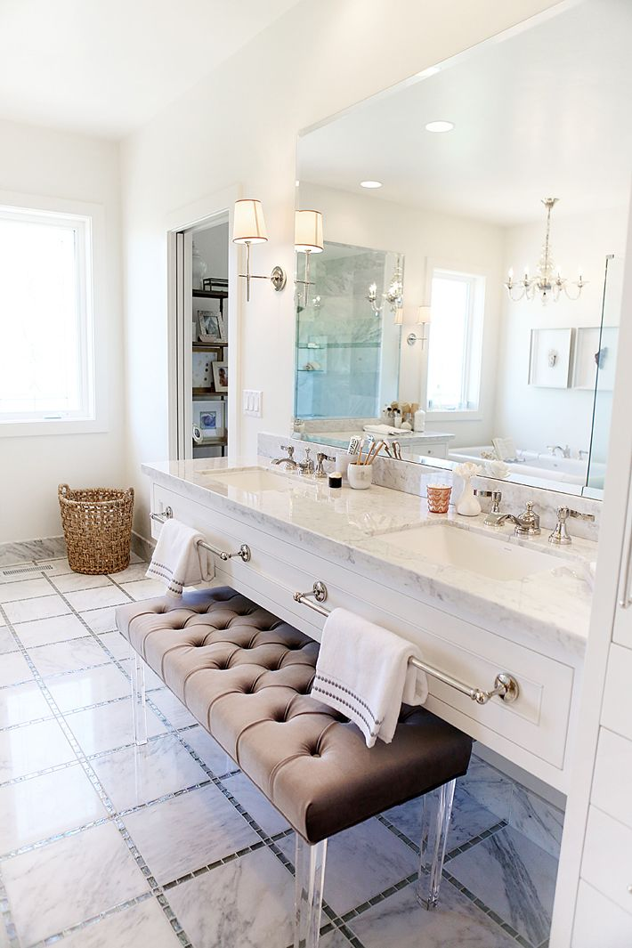Tufted bench with lucite legs for bathroom vanity