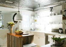 Unique-kitchen-ceiling-clad-in-tin-tiles-217x155