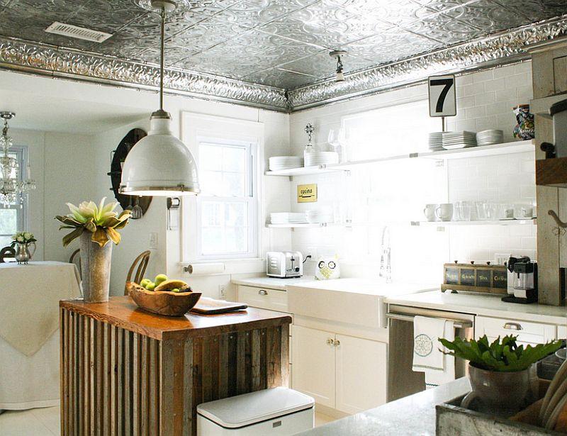 Unique kitchen ceiling clad in tin tiles [Photography: Mina Brinkey]