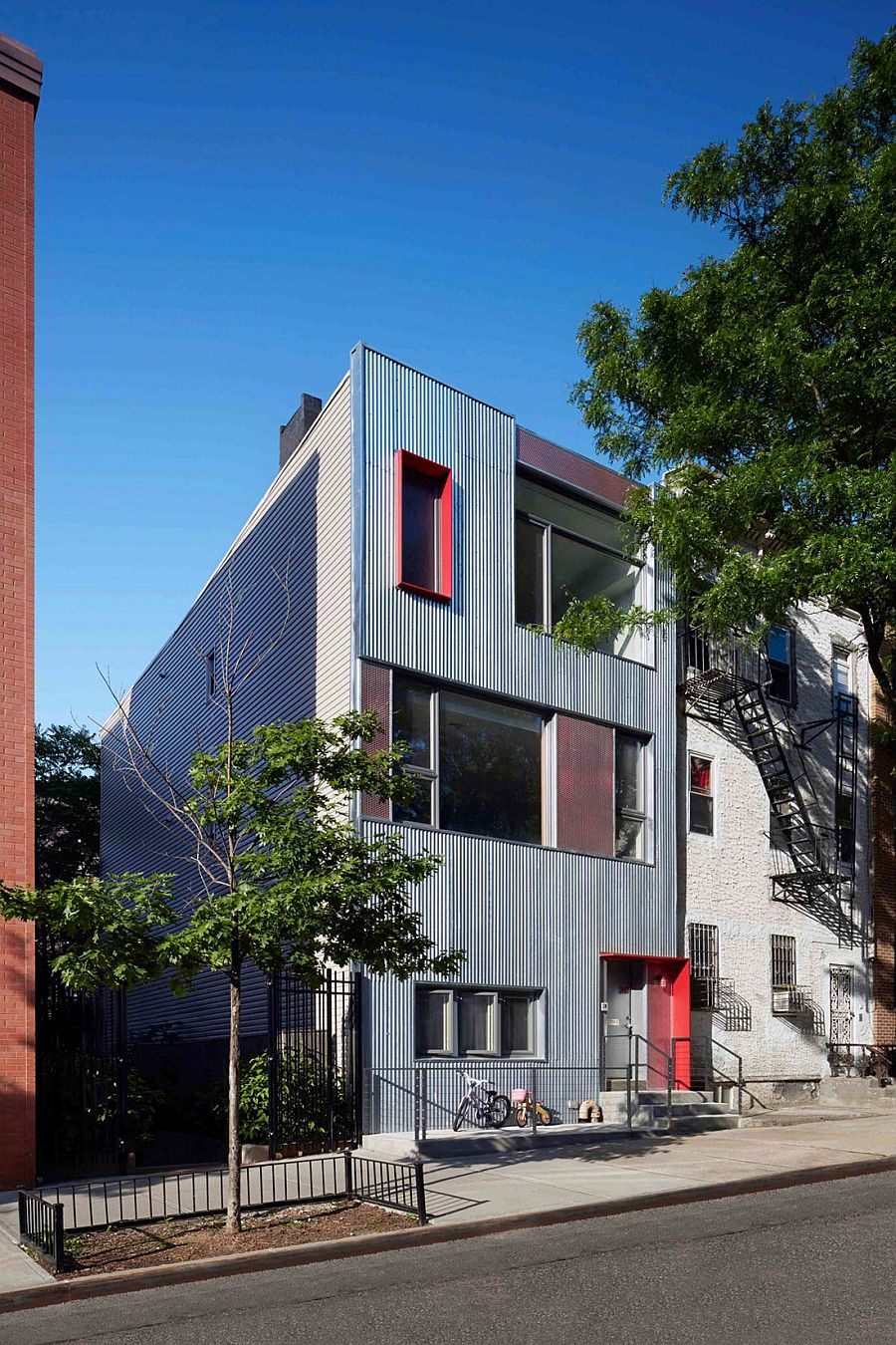 Unique metallic exterior of Gutman-Umansky Residence in Brooklyn