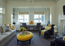 Use of lovely vases, decor and throw pillows can add yellow to the home office