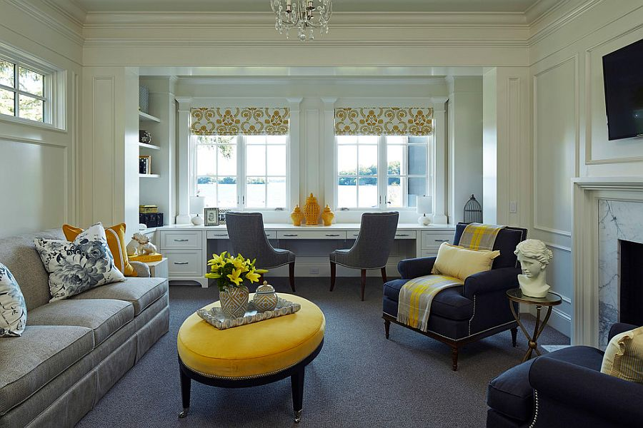 Use of lovely vases, decor and throw pillows can add yellow to the home office [Design: Martha O'Hara Interiors]