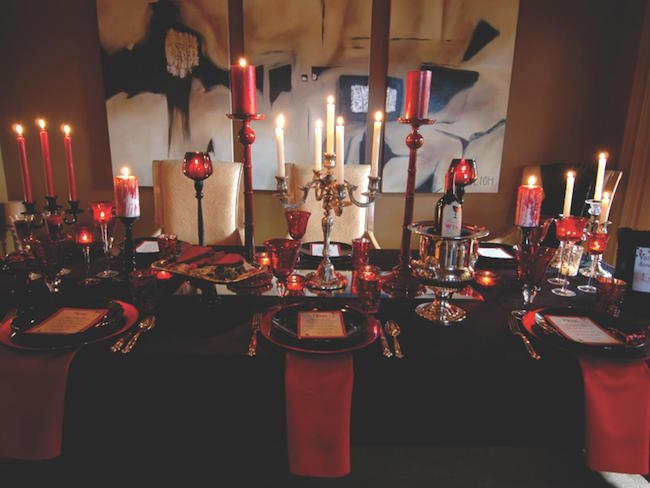 Vampire-themed black and red table setting