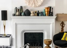 Vase collection on a fireplace mantel