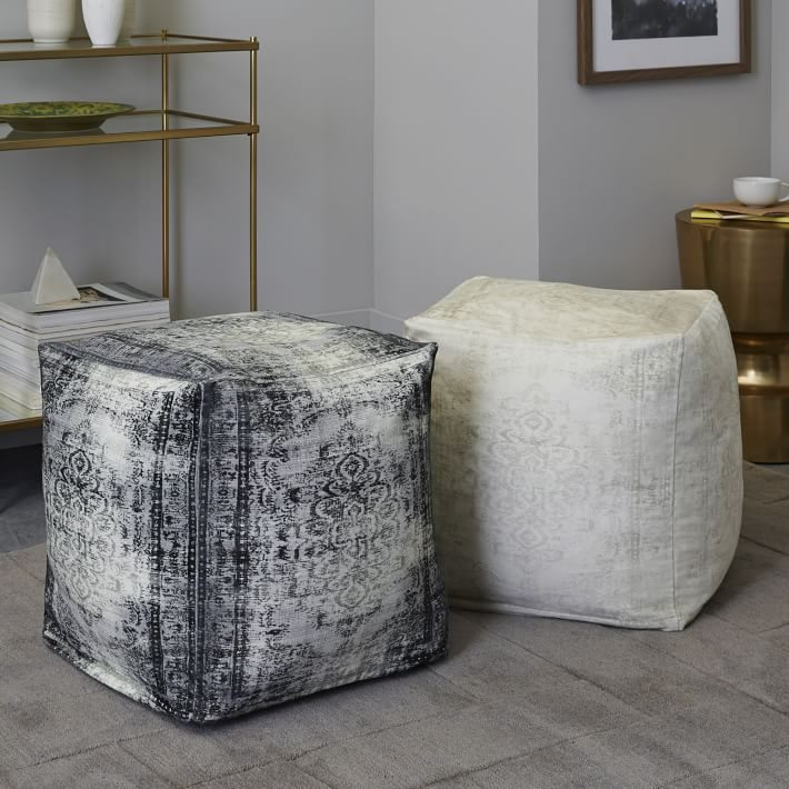 Velvet poufs from West Elm