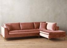 Velvet sectional sofa from Anthropologie