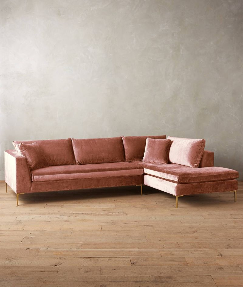Velvet sectional sofa from Anthropologie