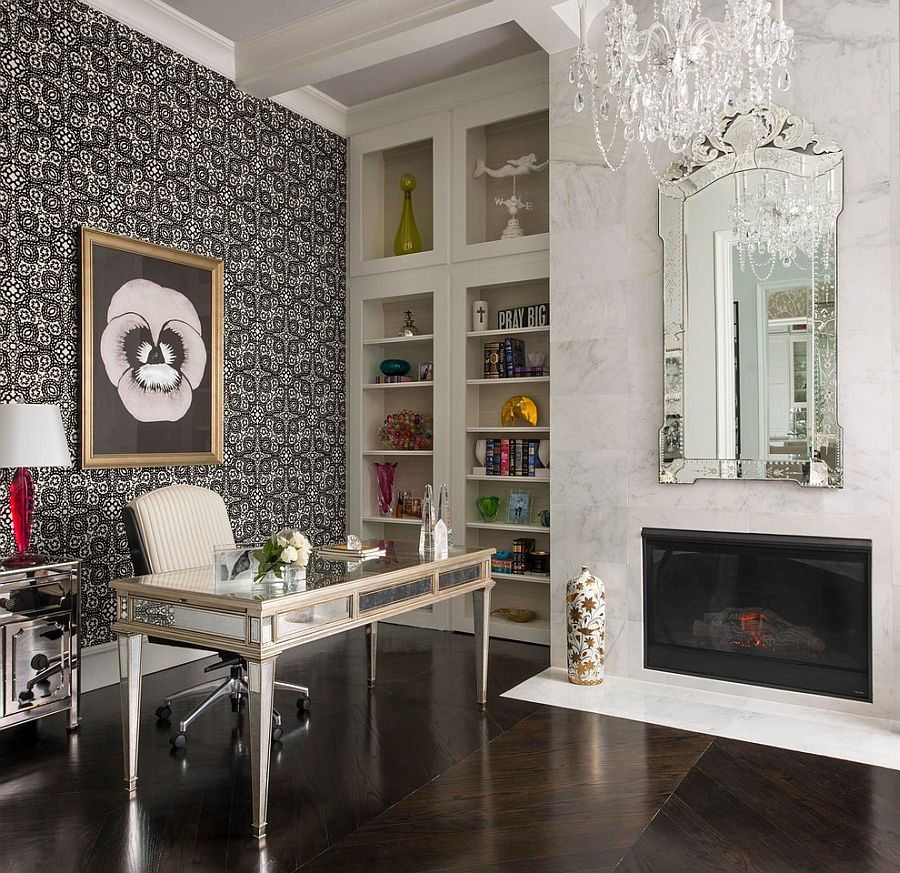 Venetian-style mirror, marble fireplace and classy chandelier for the home office [Design: CDA Interior Design]