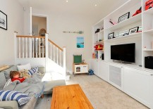 Versatile TV room can also serve as guest room and kids' study