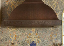 Very detailed mosaic backsplash featuring flowers and vases
