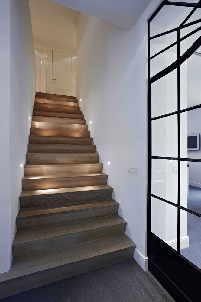 easy modern stairs design indoor. View in gallery Very small light fixtures on each wall along a wood  staircase 15 Modern Staircases with Spectacular Lighting