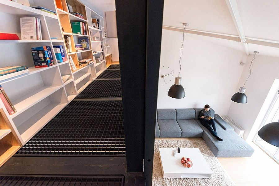 View of the lower level living area of the loft apartment from mezzanine level