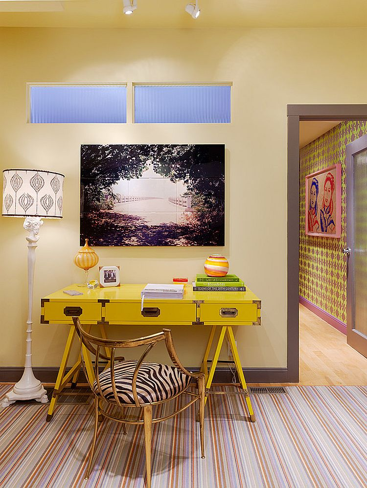 Vintage home office desk in yellow [Design: Jeffers Design Group]