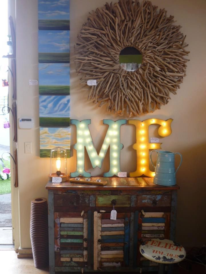 Vintage marquee letters to dress up an old worn dresser