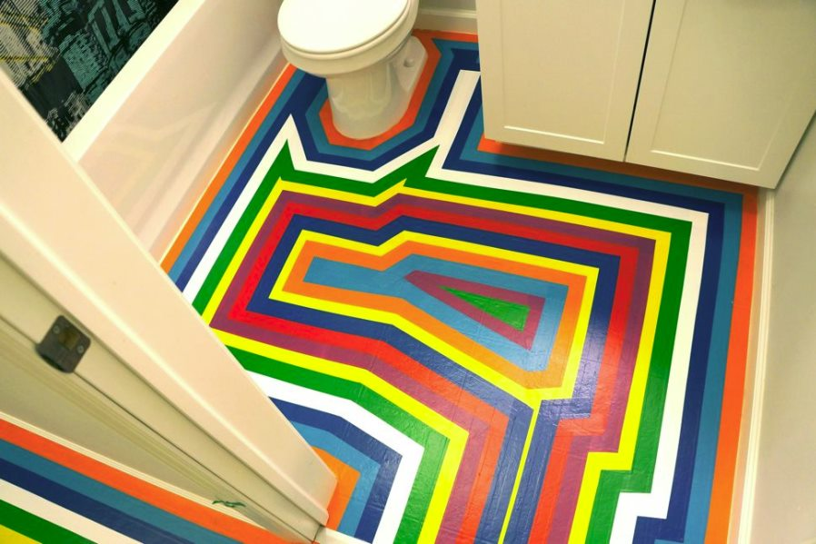 Vinyl tape floor makeover from Jezebel