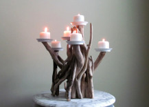 Votive candles on a driftwood candleabra