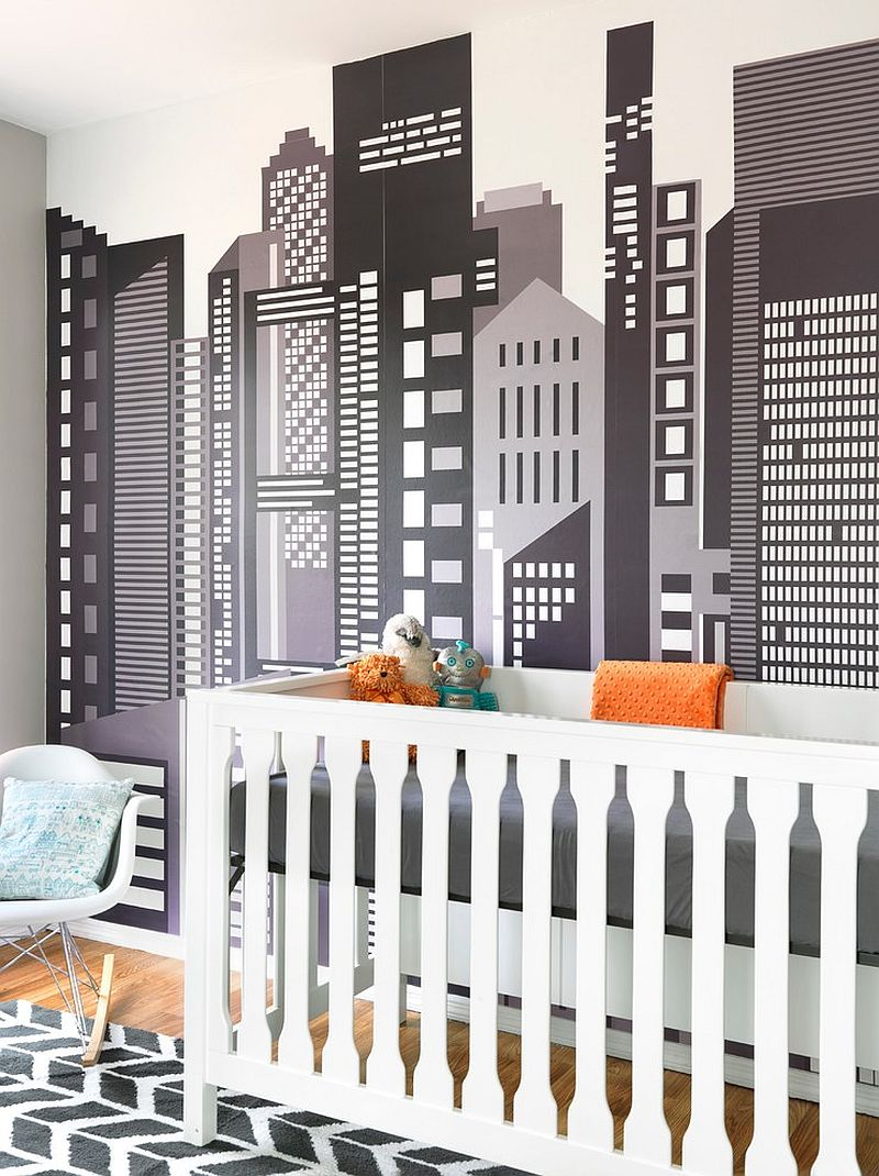 Wall decal in gray and white for the smart Scandinavian nursery
