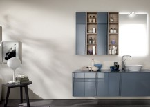 Wall hung cabinets and base in aviation blue