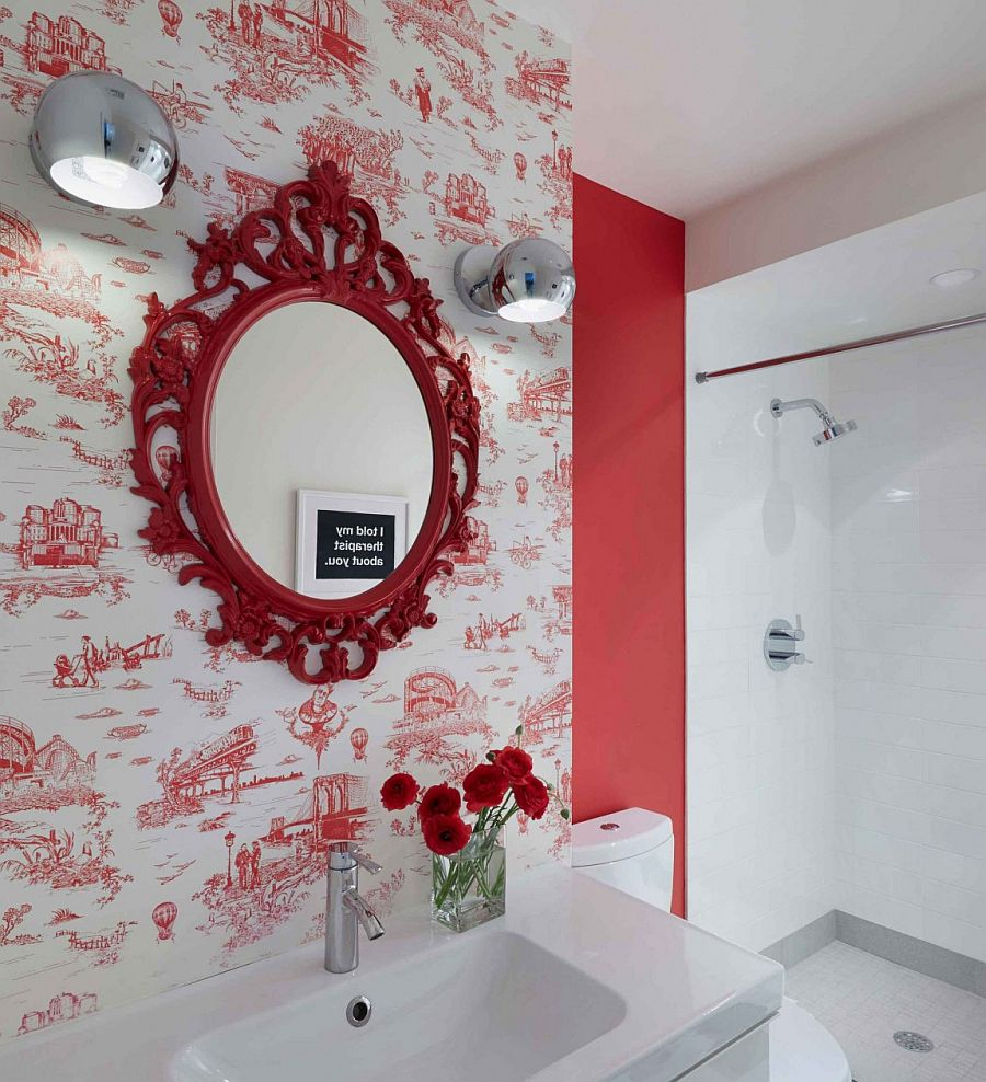 Wallpaper in red with interesting motif for the vivacious powder room