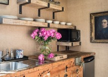 Walls-covered-in-burlap-and-vintage-kitchen-cabinets-shape-the-lovely-kitchen-217x155