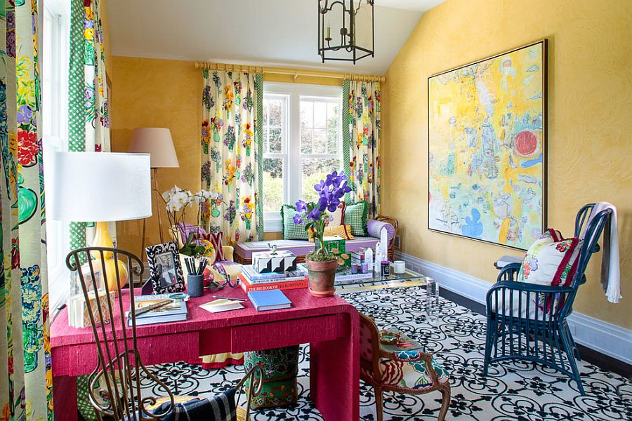 Walls in yellow bring texture and coziness to the eclectic home office full of color [Design: Gil Walsh Interiors]