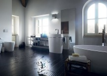 White bathroom fixtures stand in contrast to the dark wooden floor 217x155 Customized Elegance: Tasteful Trio of Exquisite Bathrooms from Scavolini