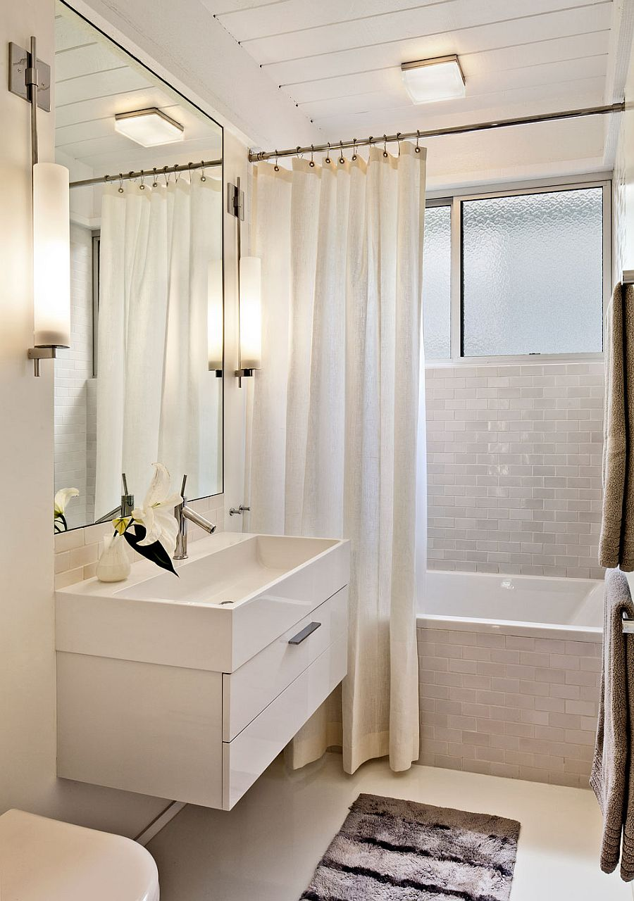 White bathroom with tile creates a cozy ambiance