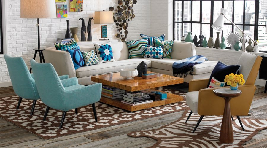 White sectional sofa from Jonathan Adler