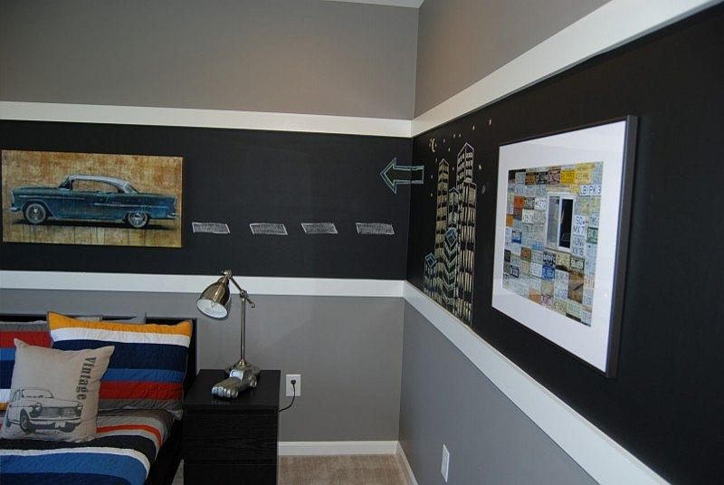 white trims flank the chalkboard section in the boys bedroom design brynn charles - Chalkboard Designs Ideas