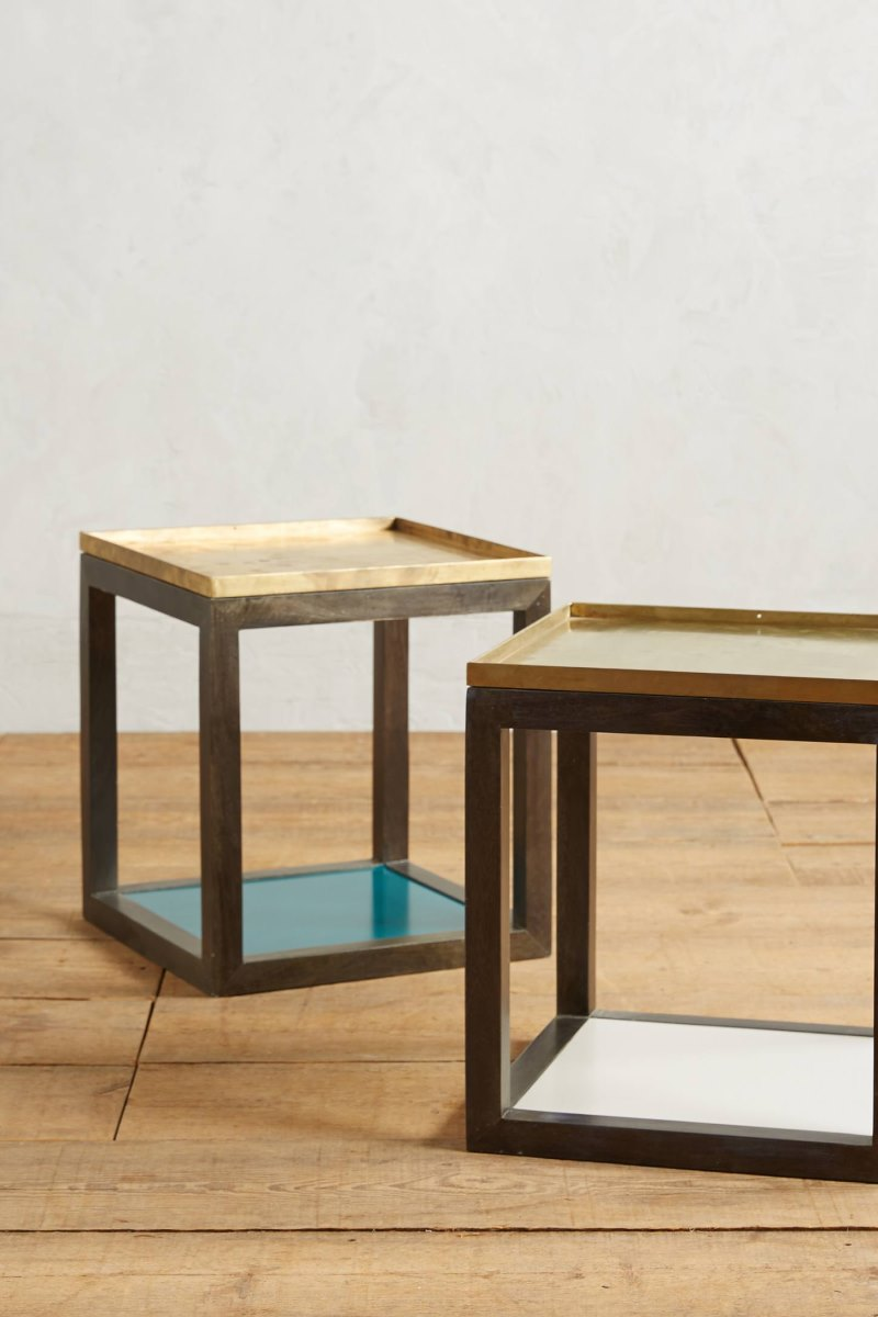 Wood and iron side tables from Anthropologie